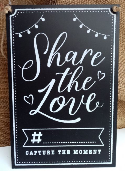 Wooden Chalkboard Hashtag Sign